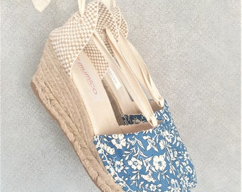 Lace-up espadrille wedges - LIBERTY of LONDON COLLECTION - made in spain - ecologic, vegan, sustainable
