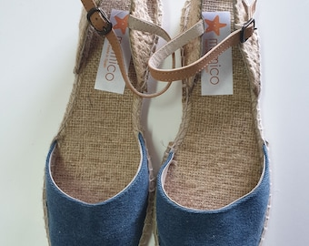 LAST PAIR - US 9 : denim espadrille flats - ankle strap - made in Spain - ecologic, made in Europe