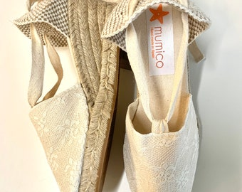 Lace-up ESPADRILLE WEDGES - (Size Eu 37) 2.36 inches + fine ivory lace - made in spain - ecologic, vegan, sustainable