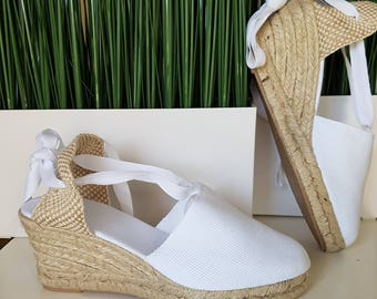Lace Up espadrille wedges (7cm-2.76i) -  NO STITCHING / WHITE - made in Spain - www.mumicospain.com