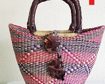 MINI SHOPPER -BOLGA basket - Elephant grass African handbag- made in Ghana - www.mumicospain.com