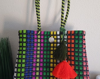 Special prices: Mexican plastic woven bag - with tassel charm