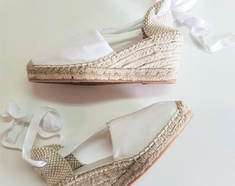 Lace Up espadrille high wedges (7cm-2.76) - VISBLE SEAM / WHITE - made in spain - www.mumicospain.com