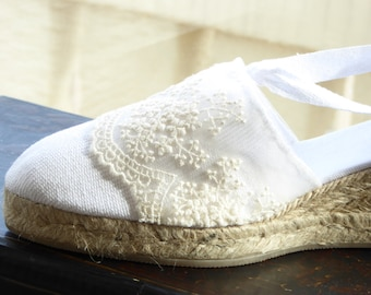 Lace-up espadrille wedges - brides collection - IVORY LACE TRIM - made in Spain - www.mumicospain.com