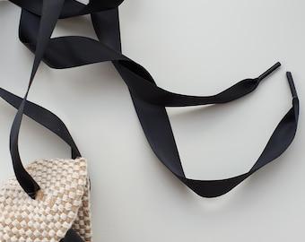 BLACK SATIN espadrille laces - www.mumicospain.com