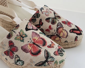ESPADRILLE WEDGES - organic vegan sustainable - Lace Up (3cm - 1.18i) - BUTTERLY Collection - Made in Spain