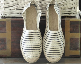 Flat espadrilles - NAVY STRIPES - mumico spain - made in spain