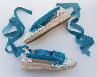 Lace Up Espadrilles mini wedges, payesas style - TOILE de JOUY with VELVET ribbons - Handmade In Spain - www.mumico.es