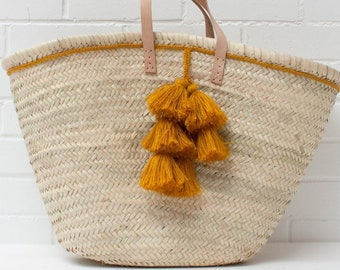 Palm basket Shopper - 50cm x 35cm x 18cm - MUSTARD TASSEL CHARM - made in Morocco - beach, shopping