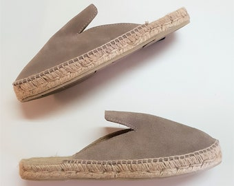 Flat espadrille mules - SPILT LEATHER MULES - made in Spain - www.mumicospain.com