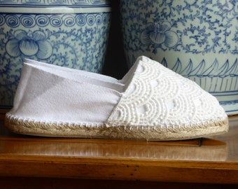 Unisex espadrille flats - WHITE LACE - made in spain - www.mumicospain.com