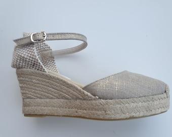 ESPADRILLES WEDGES PLATFORM - Ankle strap espadrille wedges with platform - golden linen - made in Spain - organic sustainable fashion