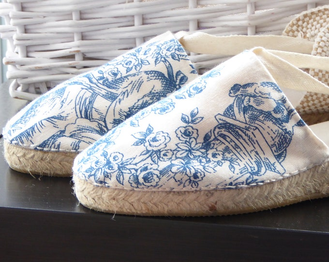 MINIWEDGES for girl: Lace-up espadrille Mini Wedges - TOILE De JOUY - made In Spain - www.mumicospain.com