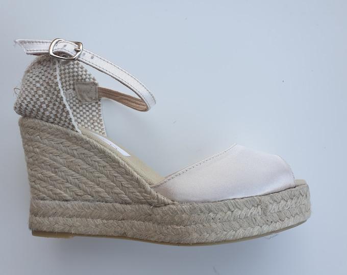 Beige Satin Ankle strap Espadrille Platform Wedges - peep toes - BRIDES COLLECTION- Made In Spain