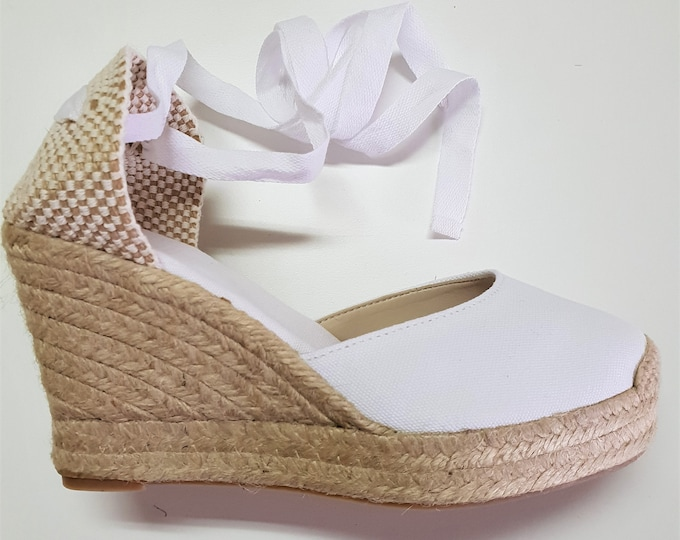 Lace up Espadrille PLATFORM Wedges - BRIDES COLLECTION- Made In Spain - www.mumicospain.com