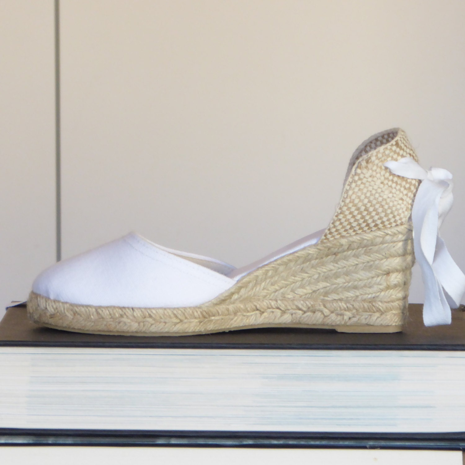 5cf17b293 Lace Up Espadrille Wedge Pumps - BRIDES COLLECTION- made in Spain -  www.mumicospain.com