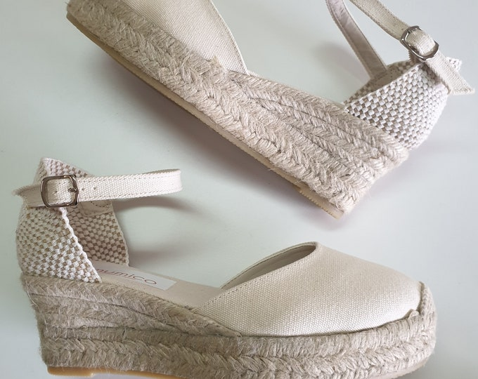 ESPADRILLES WEDGES PLATFORM - Ankle strap espadrille low wedges with platform -  ivory canvas - made in Spain - organic sustainable fashion
