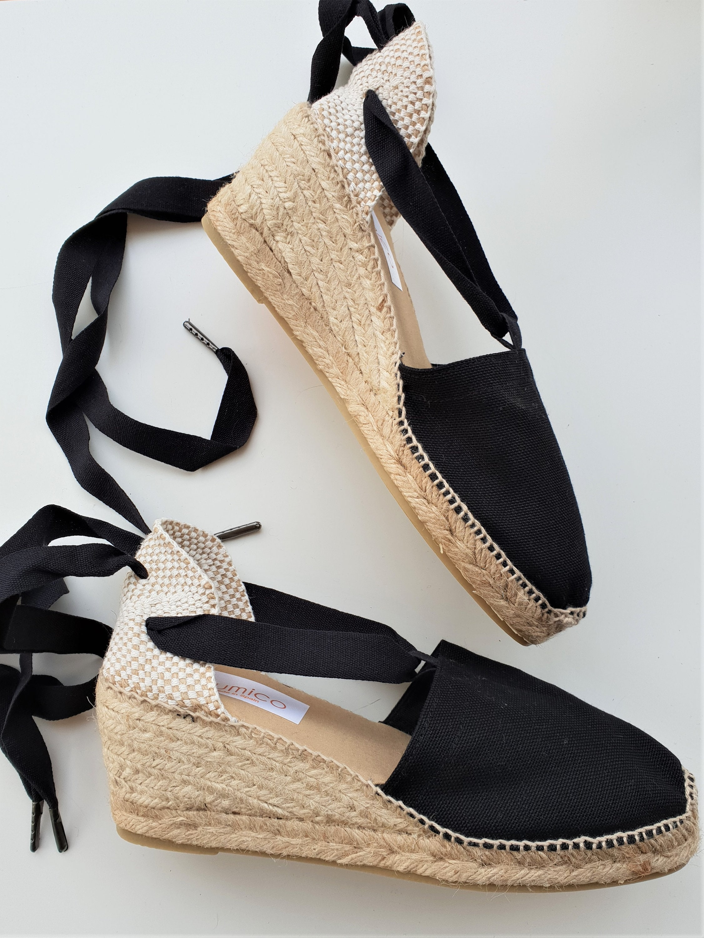 d889d676bb8 SALE  Lace up espadrille wedges - RUSTIC - visible seam BLACK - made in  spain - www.mumicospain.com