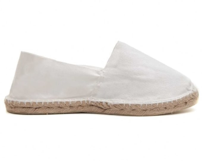 UNISEX ESPADRILLES FLATS - white canvas - Made in Spain - ecologic, vegan, made in Europe
