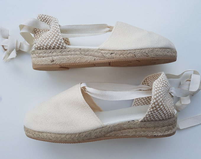 LaCe-Up ESPADRILLES - MiNI WEDGES - organic vegan sustainable - Lace Up  (3cm - 1.18i) - Ivory - Made in Spain