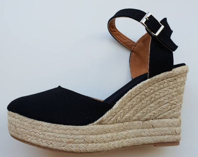 ESPADRILLES PLATFORM WEDGES - black cotton - yute shoes, ecologic, organic, sustainable sandals - made in spain