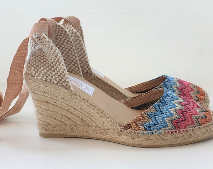 Lace-up espadrille wedges - LIMITED EDITION ZIGZAG - made in Spain - www.mumicospain.com