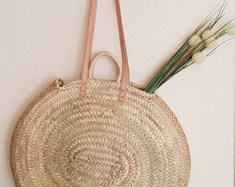 Oval palm bag with short handle and leather strap - OVAL BASKET w/ LEATHER strap - made in spain - www.mumicospain.com