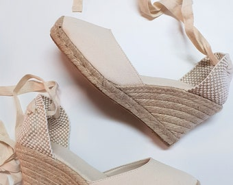 ESPADRILLES WEDGES - PUMPS - organic vegan sustainable - Lace Up  (9cm - 3.54i) - front stitching/ ivory canvas - Made in Spain - vegan