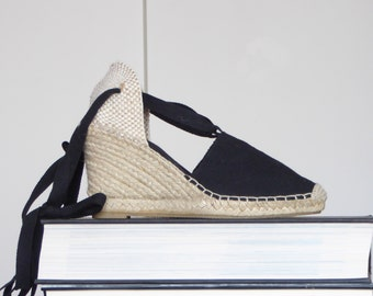 ESPADRILLES WEDGES BLACK Lace Up high heels (9cm-3.54i) - visible seam - vegan, yute shoes, ecologic - Made in Spain