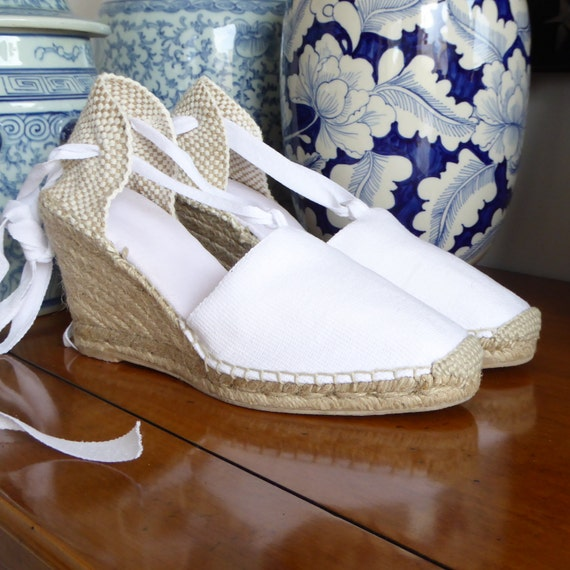0246be6cf Lace Up Espadrille WEDGES BRIDES COLLECTION Made In Spain | Etsy
