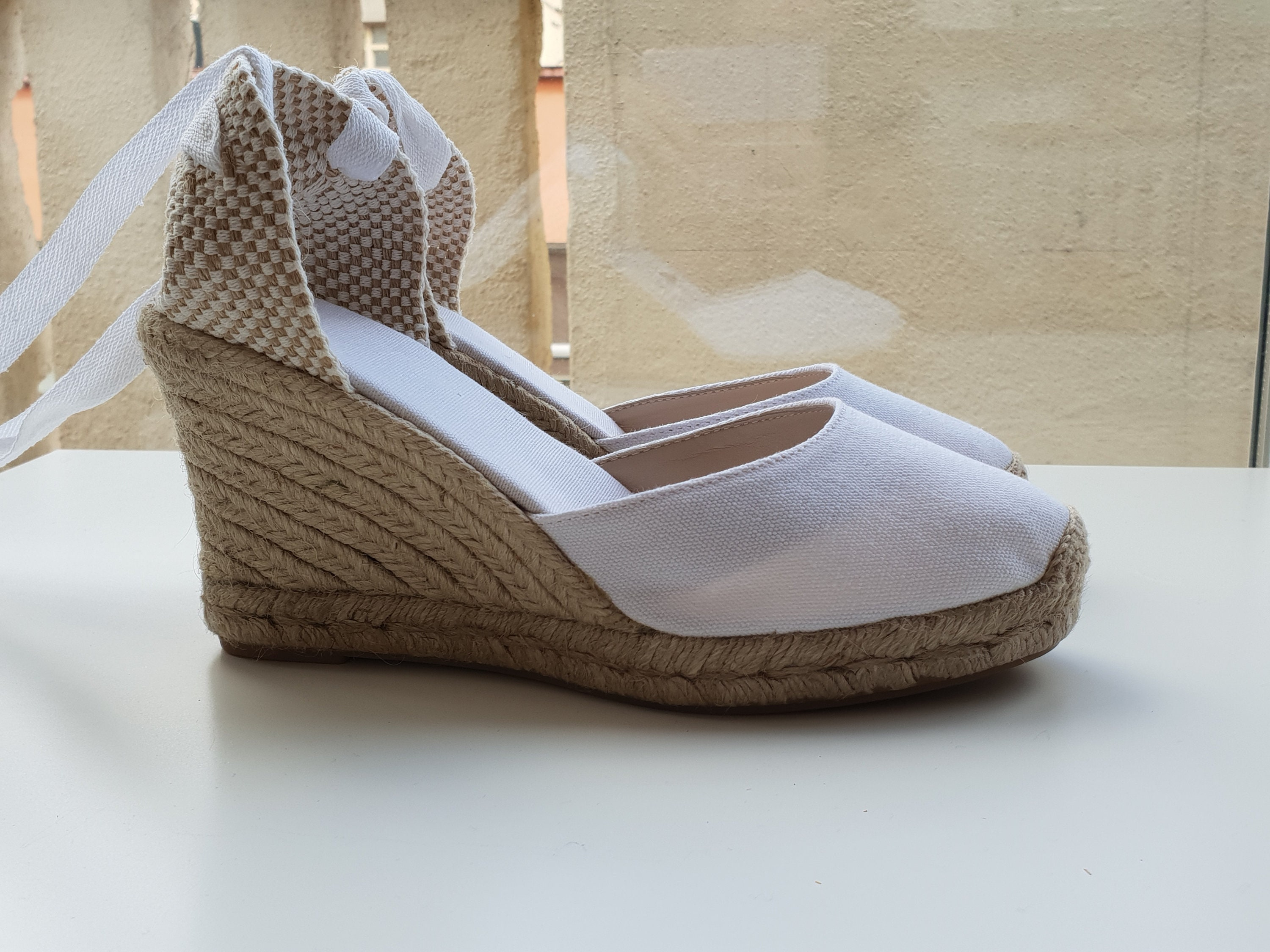 870bdfdf9 Lace Up pump espadrille wedges (9cm - 3.54i) - brides collection - FRONT  STITCHING / WHITE - Made in Spain - www.mumicospain.com-