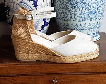 ESPADRILLES WEDGES - ankle strap - BEIGE linen - made in Spain - organic, ecologic, sustainable shoes