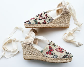 ESPADRILLE MINI WEDGES - organic vegan sustainable - Lace Up (6.5cm - 2.56i) - MuMiCo Collection 2021 - Made in Spain