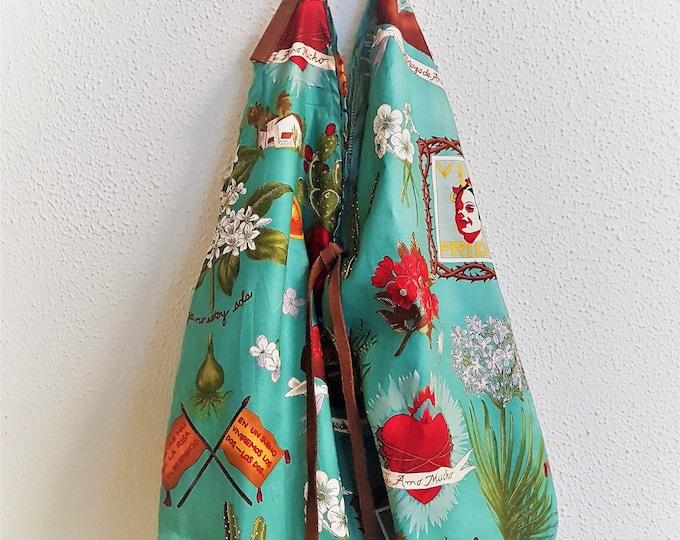 Cotton shoulder bag with leather handles - FRIDA KHALO SAC - www.mumicospain.com