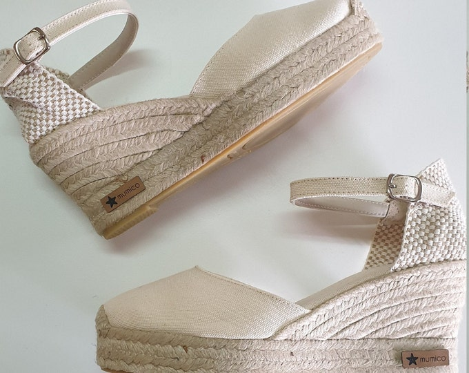 Ankle strap Espadrille Platform Wedges - IVORY 8cm- Made In Spain - www.mumicospain.com