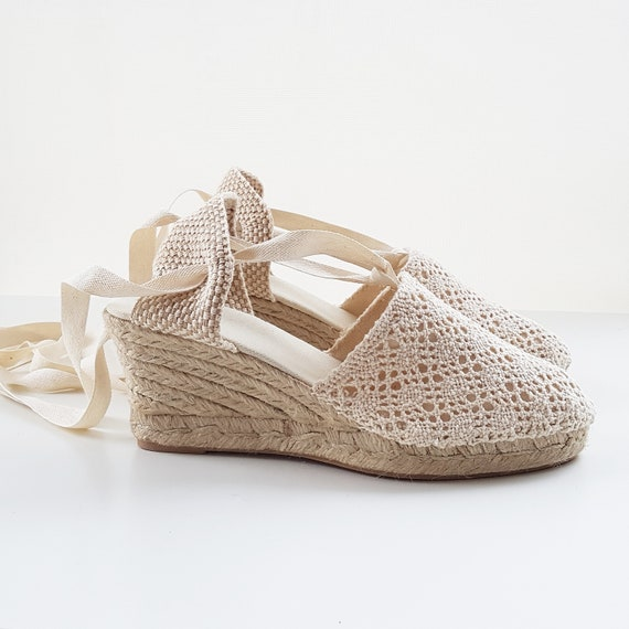 8072c4ee442 Lace-up ESPADRILLE WEDGES - CROCHET Collection - made in Spain -  www.mumicospain.com