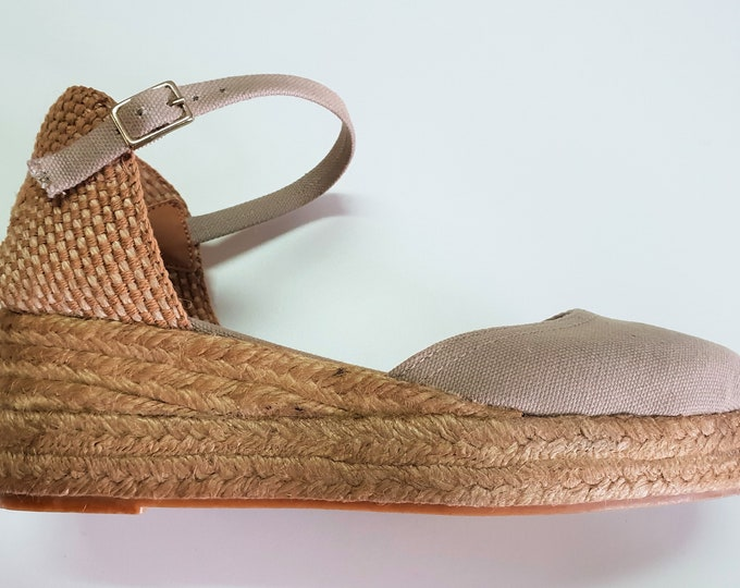 ESPADRILLES WEDGES PLATFORM - Ankle strap espadrille low wedges with platform - chikpea canvas - made in Spain - organic sustainable fashion