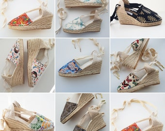 COLORFUL ESPADRILLES WEDGES - lace up 2.56i wedges - 2020 MuMiCo CoLLecTioN - made in Spain -  vegan organic sustainable