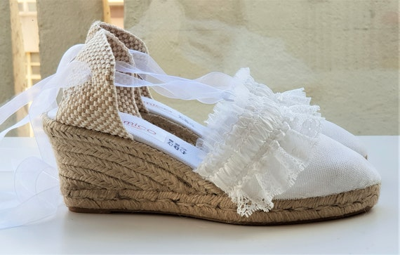 Lace up espadrille wedges 7cm BRIDES collection RUFFLE TRIM made in Spain