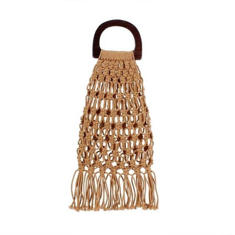 8c869db10d9 Bolso de nudos en lino con asas de madera 38cm x 21cm asas | Etsy