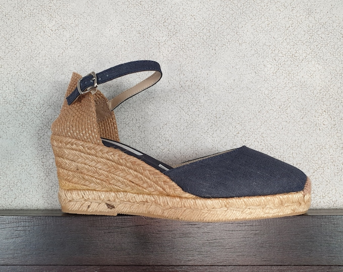 ESPADRILLES WEDGES - ankle strap - NAVY linen - made in Spain - organic, ecologic, sustainable shoes