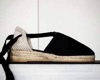 Espadrilles for GIRLS: lace-up MINIWEDGES - BLACK - made in spain - www.mumicospain.com