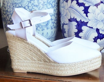 ESPADRILLES PLATFORM WEDGES - brides wedding bridal - white cotton - yute shoes, ecologic, organic, sustainable - made in spain
