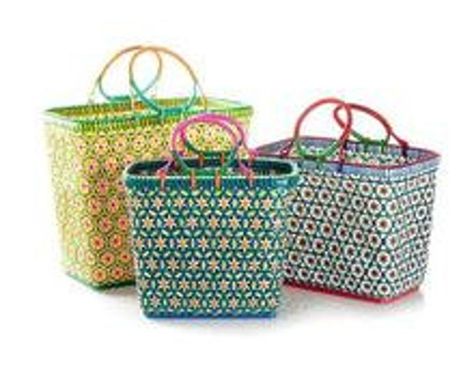 MOWGS Petal Basket - Handwoven with recycled plastic - 25cm x 30cm x 17cm - MOWGS SMALL- made in Myanmar