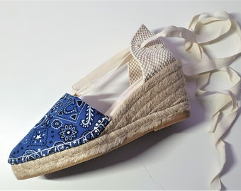 Lace-up ESPADRILLE WEDGES  - organic vegan sustainable - SIZE eu 36 (7 cm - 2.72i) - Made in Spain