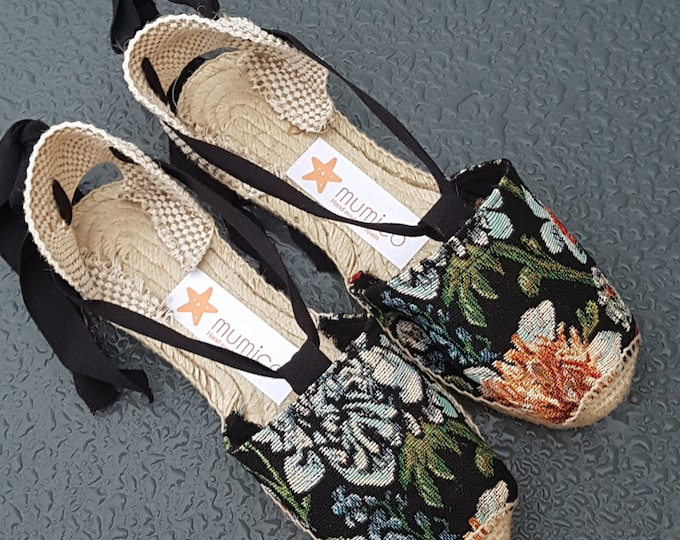 COLORFUL ESPADRILLE FLATS - Vintage Flowers Collection - made in Spain - ecologic, sustainable, vegan