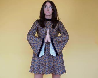 Mustard Paisley 60's Medieval Sleeved dress