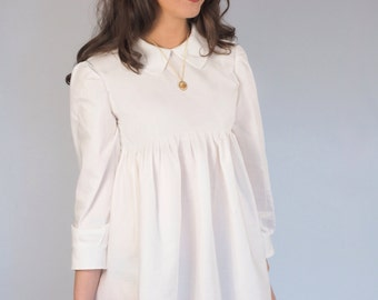 Ivory Peter Pan Collar Baby Doll 60s Dress