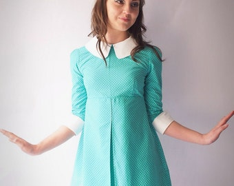 1960's Reproduction Mod Dress, Turquoise and white polkadot, contrast Peter Pan collar and cuffs