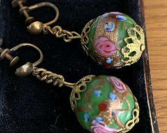 Antique Wedding Cake Murano Glass Earrings
